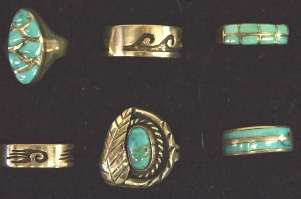 6 Native American Sterling Silver Turquoise Rings