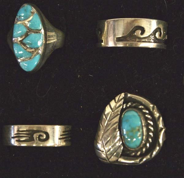 6 Native American Sterling Silver Turquoise Rings - 2