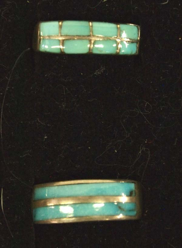 6 Native American Sterling Silver Turquoise Rings - 3