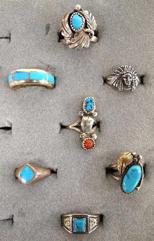 Collection of 7 Navajo Sterling Silver Rings