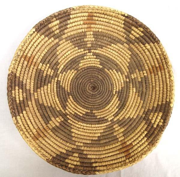 Ethnic Polychrome Woven Basket-Platter