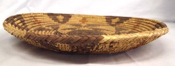 Ethnic Polychrome Woven Basket-Platter - 2