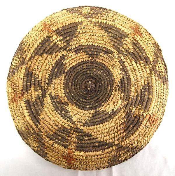 Ethnic Polychrome Woven Basket-Platter - 3