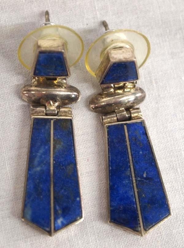 Pr of Sterling Silver & Lapis Earrings