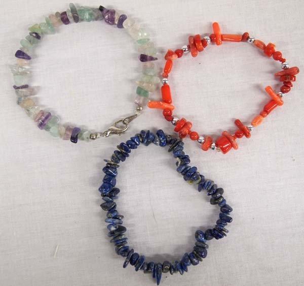 3 Stone & Coral Bracelets