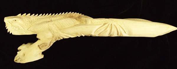 Indonesian Hand Carved Chinaberry Wood Burl Iguana