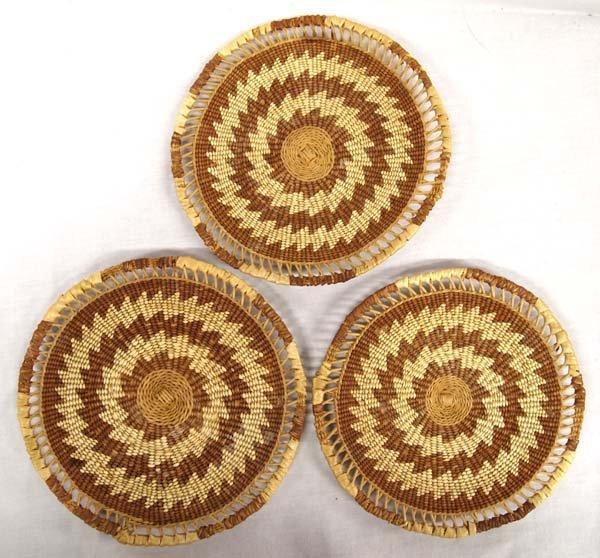 3 Native American Kurak Basketry Trays