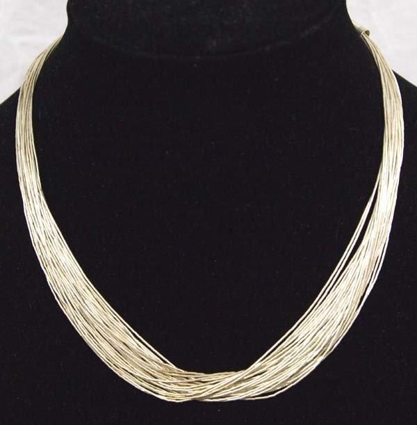 Exquisite Navajo Liquid Sterling Silver Necklace