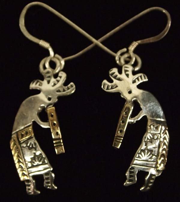 Navajo 14K Gold on Sterling Earrings by R. Tafoya