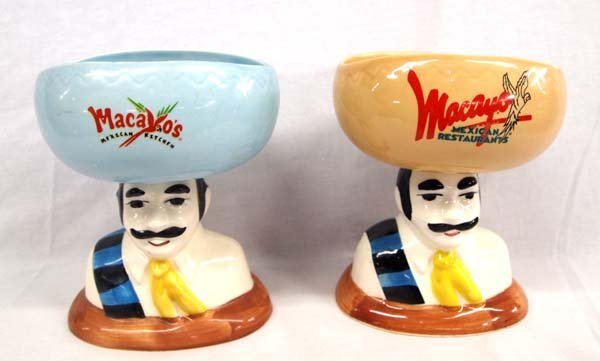 Pair Ceramic Macayo Restaurant Margarita Glasses
