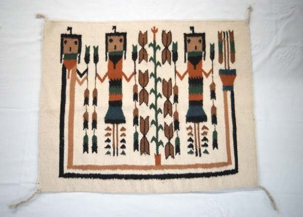 Mexican Made, Navajo Yei Style Wool Textile Rug