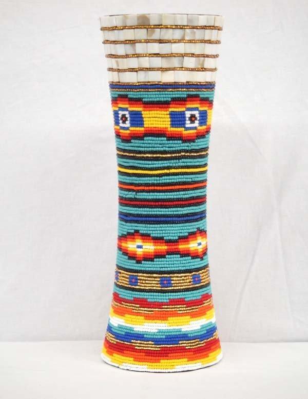 Large Kills Thunder Beaded Wooden Vase.