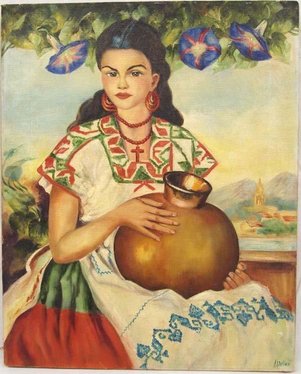 Original Oil on Canvas Senorita with Olla by Dillon