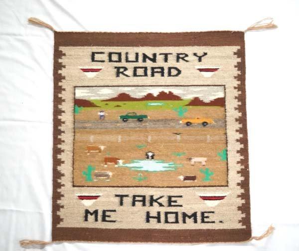 Navajo Pictorial Wool Textile Rug