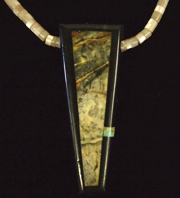 Estate Native American Zuni Inlay Pendant Necklace - 2