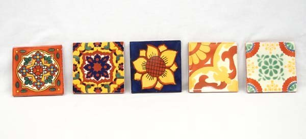 5 Hand Made Mexican Tiles.