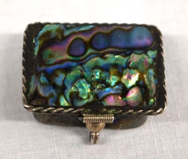 Taxco Mexican Sterling Silver & Abalone Pill Box.