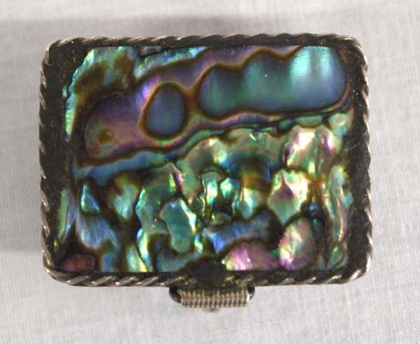 Taxco Mexican Sterling Silver & Abalone Pill Box. - 2