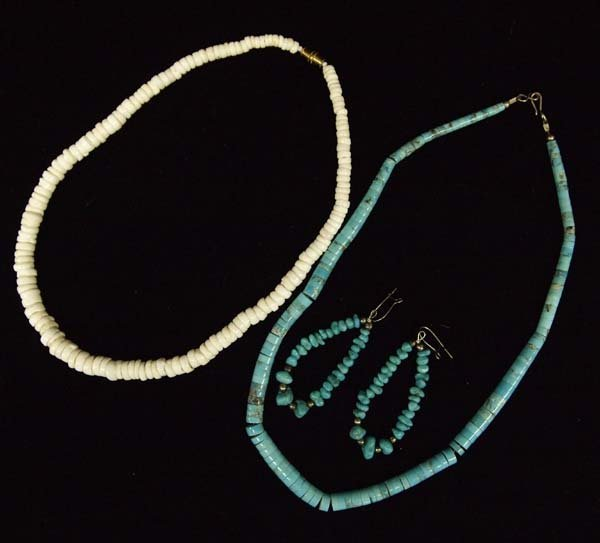 2 Navajo Necklaces and Pair of Earrings
