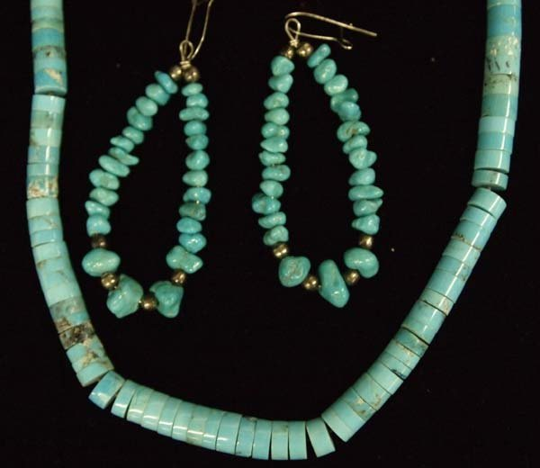 2 Navajo Necklaces and Pair of Earrings - 2
