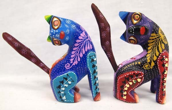 2 Mexican Oaxacan Carved Wood Cat Alebrijes, Roque