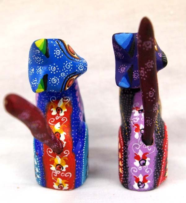 2 Mexican Oaxacan Carved Wood Cat Alebrijes, Roque - 2