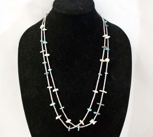 1940 Navajo Turquoise Nugget & Heishi Necklace.
