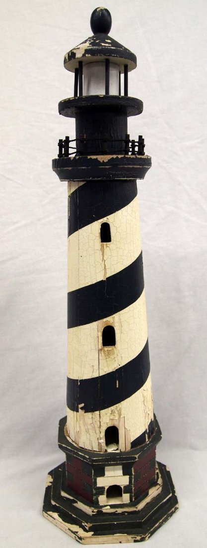 Folk Art Wood Lighthouse