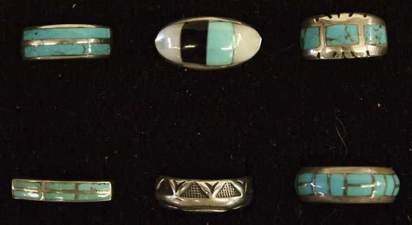 6 Native American Zuni and Navajo Sterling Rings