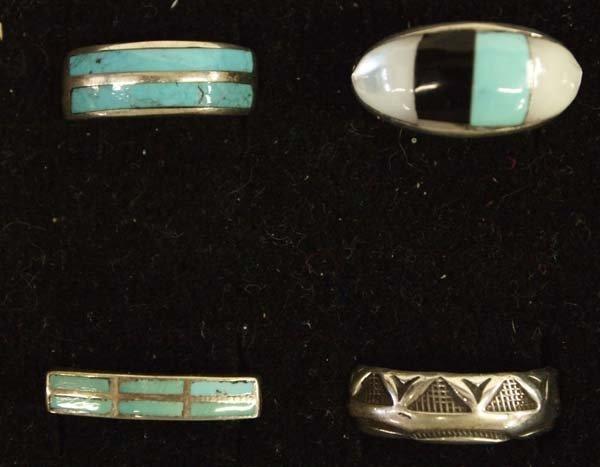 6 Native American Zuni and Navajo Sterling Rings - 2