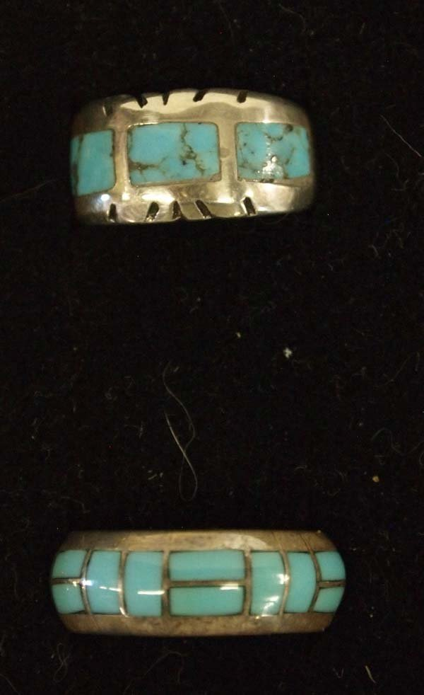 6 Native American Zuni and Navajo Sterling Rings - 3