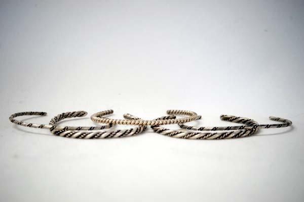 5 Navajo Sterling Silver Guard Bracelets
