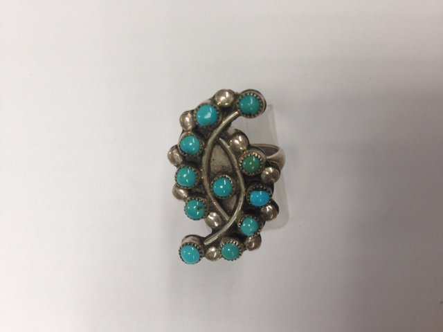 Zuni Sterling Silver & Turquoise Petite Point Ring - 3