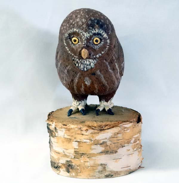 1997 Carved Birch Saw Whet Owl on Birch Wood Base