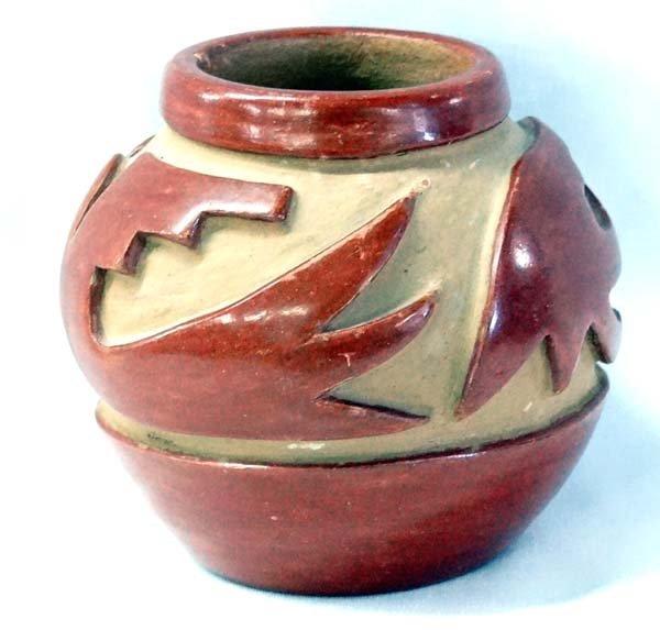 Santa Clara Heavily Carved Jar by Agapita S Tafoya - 2