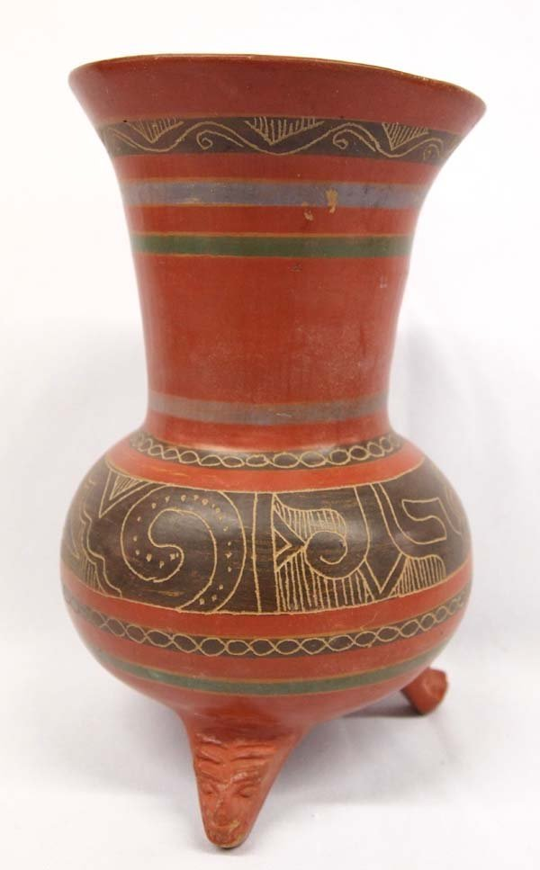 South American Incised Footed Pottery Jar