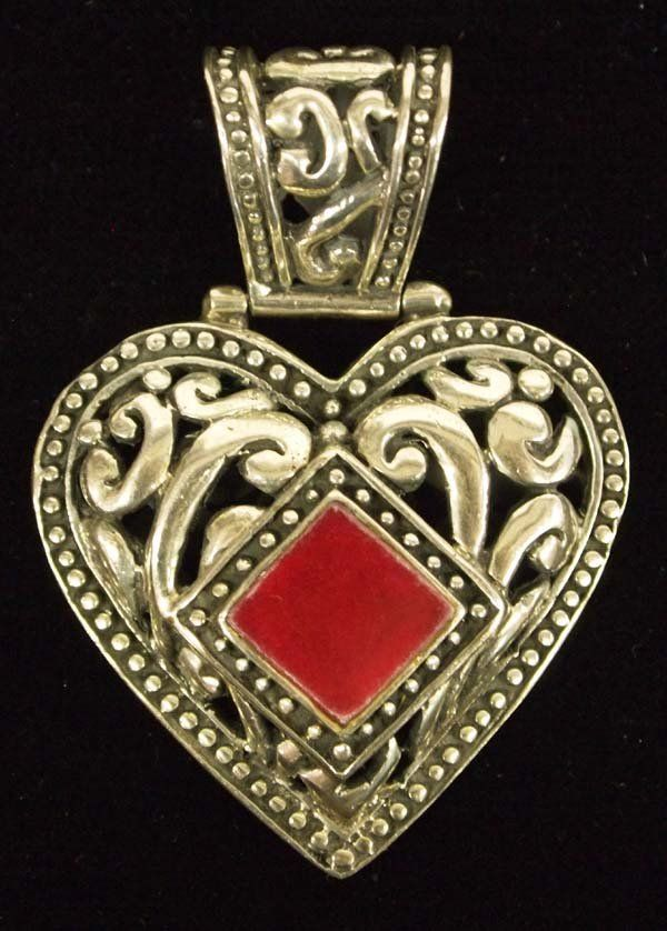 Carved Sterling Silver Heart Pendant