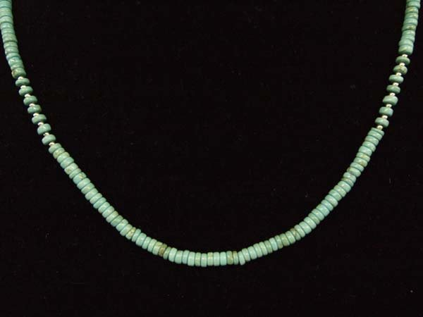 Southwestern Bisbee Turquoise Heishi Bead Necklace