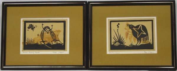 2 Original Mimbres Lino Block Prints, J. Hopkins