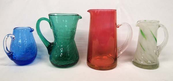 Collection of 4 Glass Pitchers