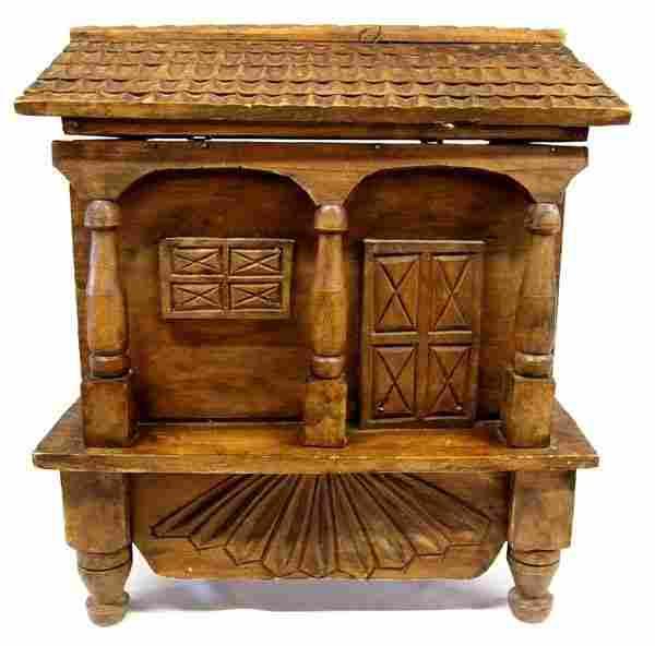 Guatemalan Hand Carved Folk Art Footed Wood Box