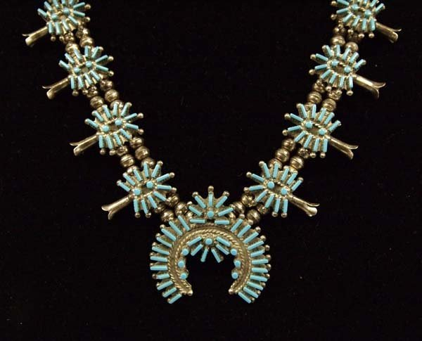 Zuni Sterling Block Turquoise Squash Necklace