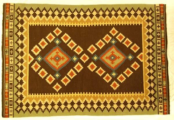 East Indian Double Diamond Textile Rug