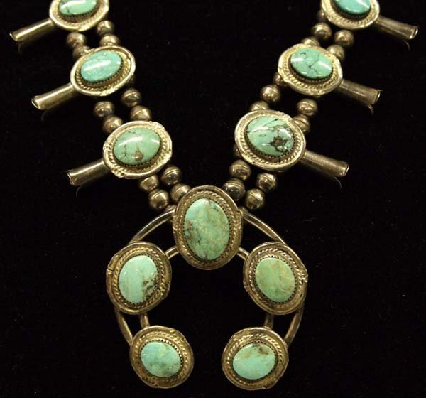 1950 Navajo Sterling Turquoise Squash Necklace