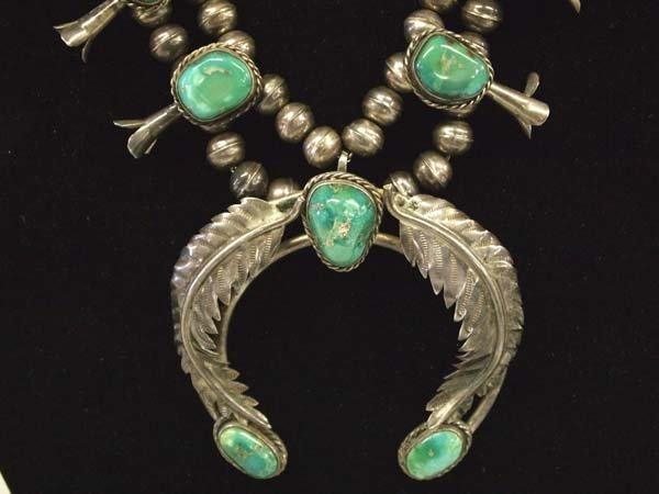 Vintage Navajo Sterling Turquoise Squash Necklace