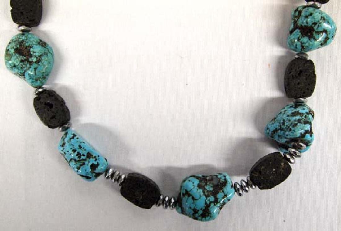 Turquoise & Lava Rock Necklace, 40''L, $6.50 S&H