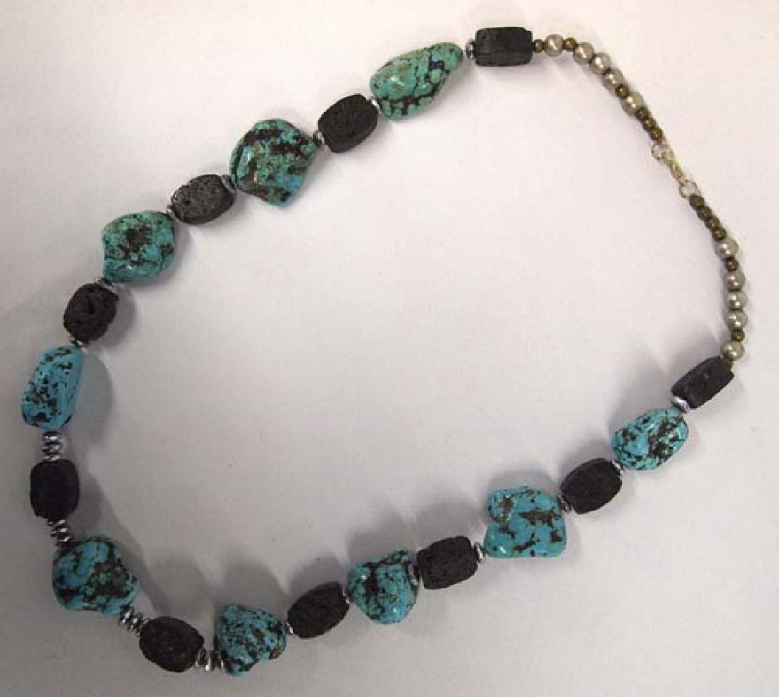 Turquoise & Lava Rock Necklace, 40''L, $6.50 S&H - 2