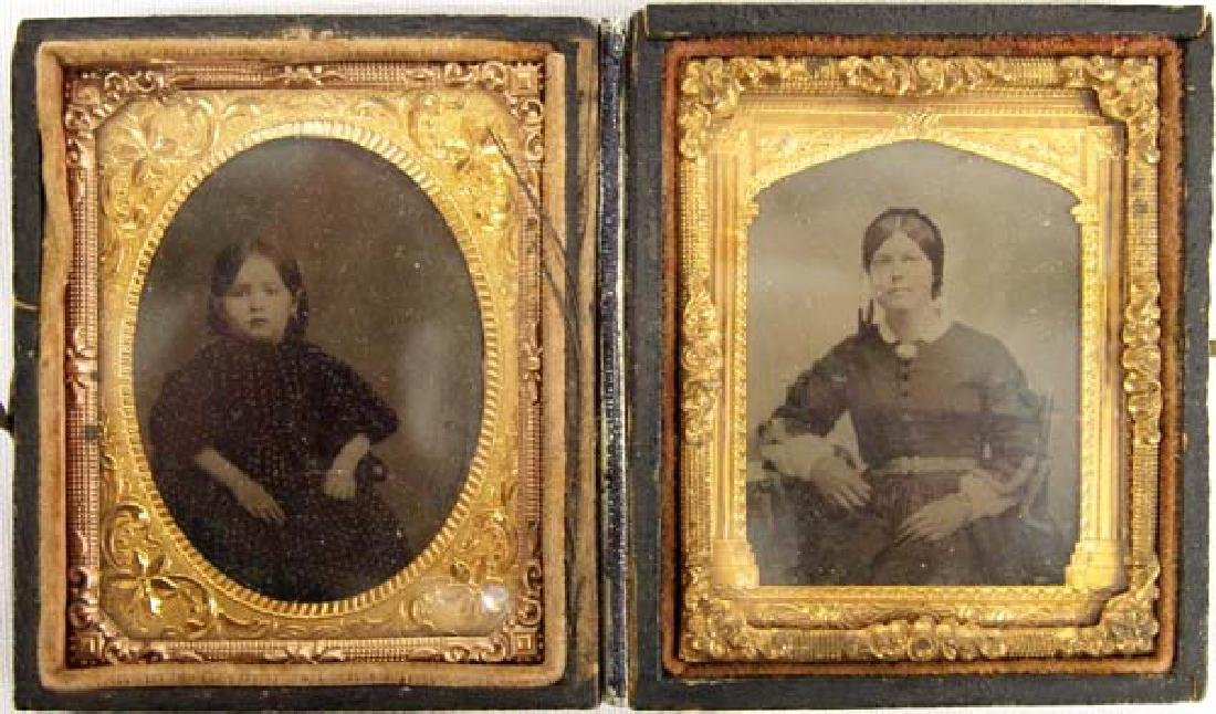 1800s Antique Gouda Case with 2 Tintypes  3'' $6.50 S&H