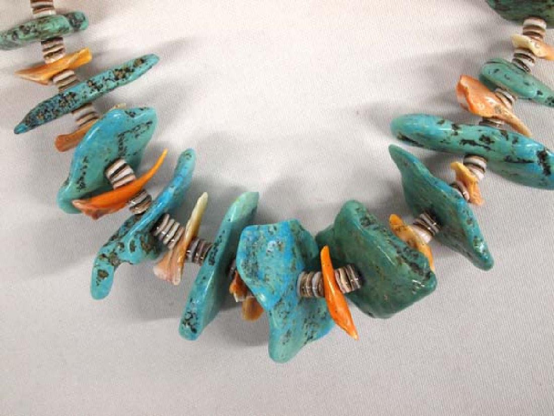 Santo Domingo Turquoise and Red Shell Necklace