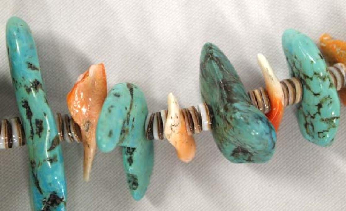 Santo Domingo Turquoise and Red Shell Necklace - 4